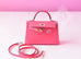 Hermes Rose Lipstick Mini Kelly II 20 cm Pochette Clutch - New