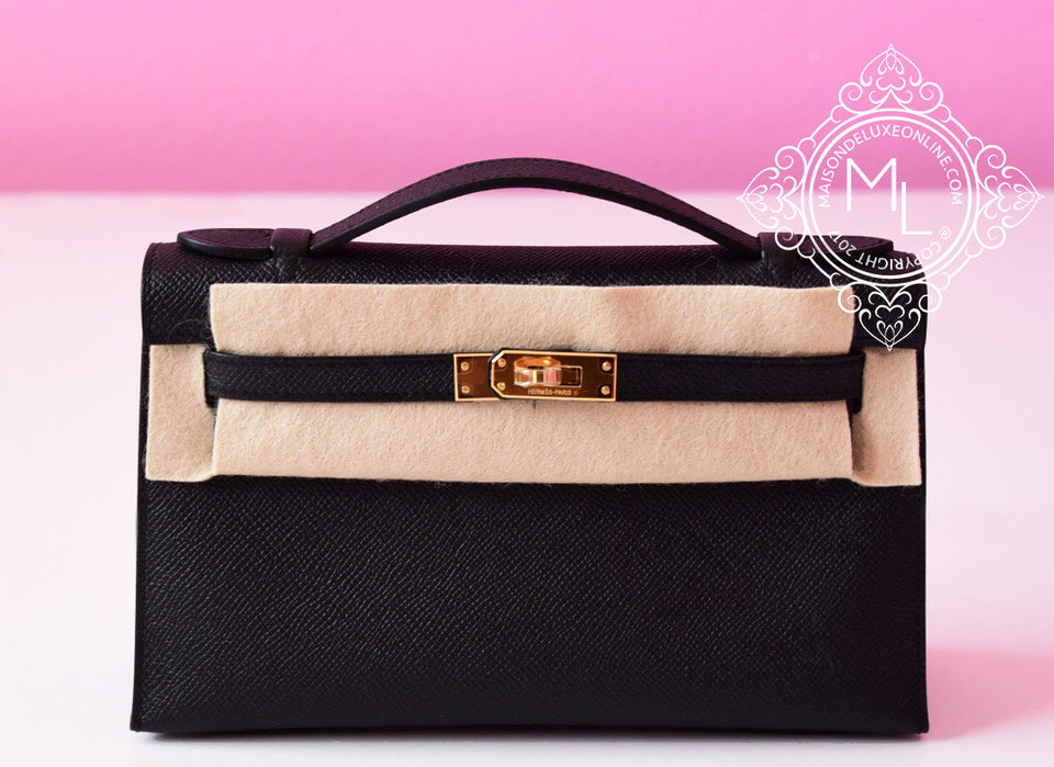 Hermes Black GHW Epsom Mini Kelly Pochette Clutch