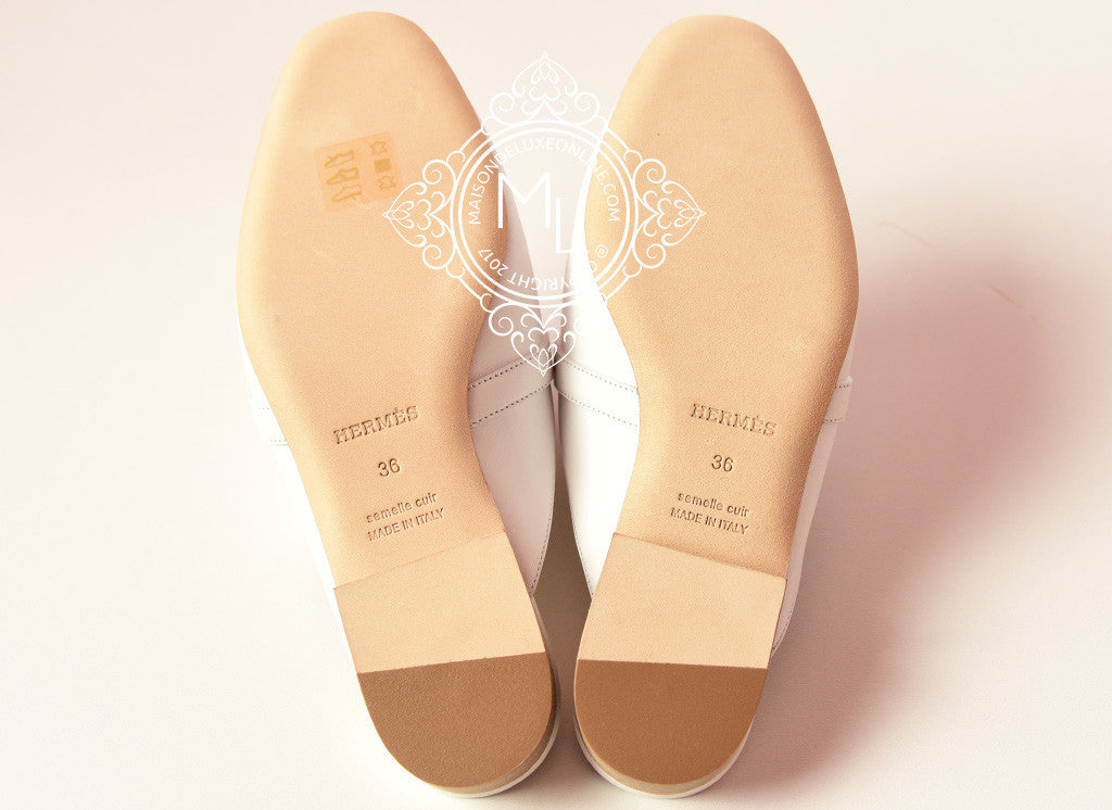 1b3834a90d58 Hermes Womens White OZ Kelly Mules 37 Shoes Slippers Sneaker Loafer ...