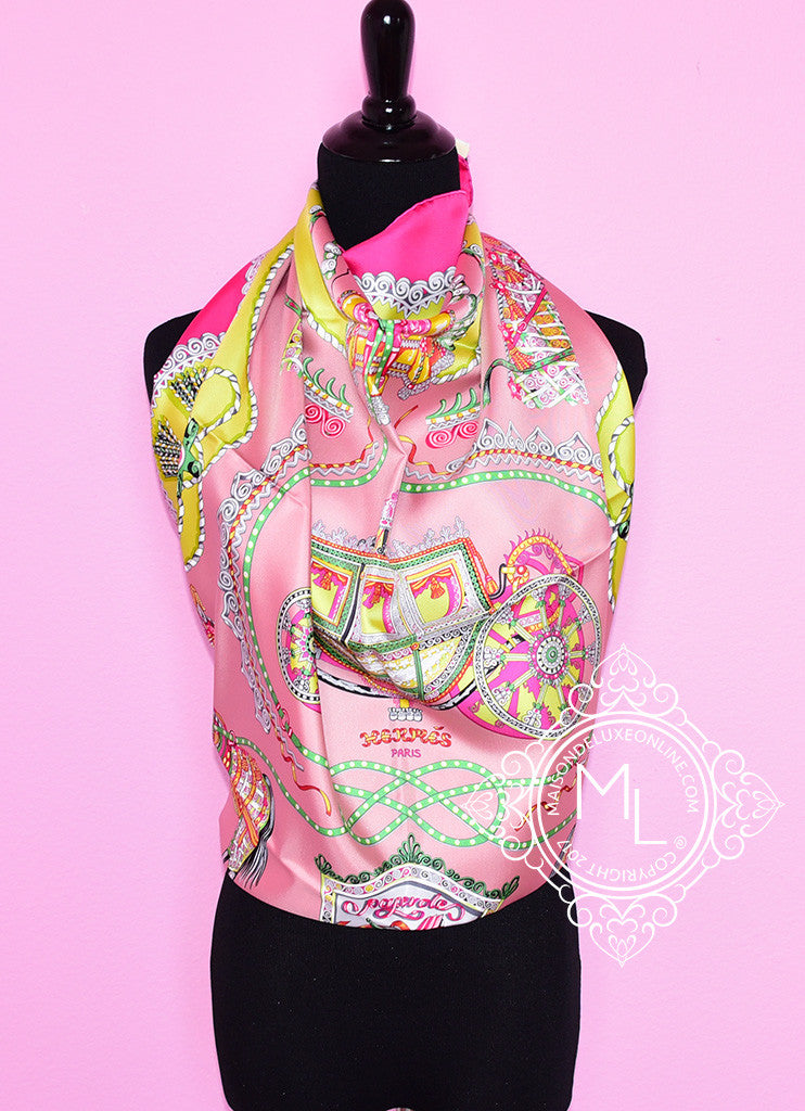 Hermes Rose Pink Twill Silk 90 cm Paperoles Scarf