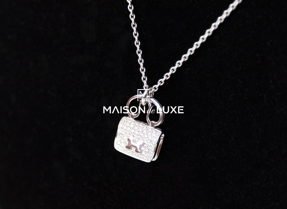 Hermes White Gold Diamond Constance Pendant Necklace