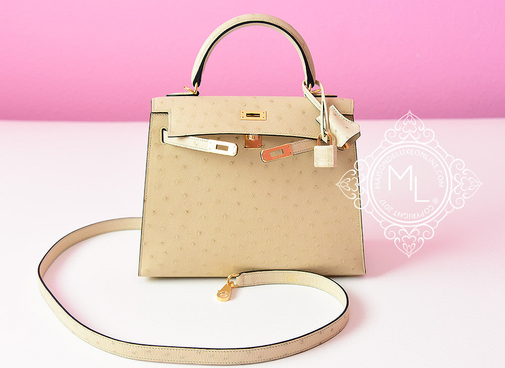 6a910827fe3 Hermes Parchemin Off White Gold Ostrich Sellier Kelly 25 Handbag Bag ...