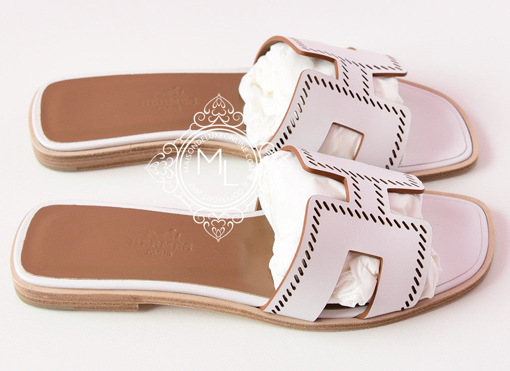 5620b7df5308 Hermes Womens Perforated White Oran Sandal Slipper 36 Shoes Loafers ...