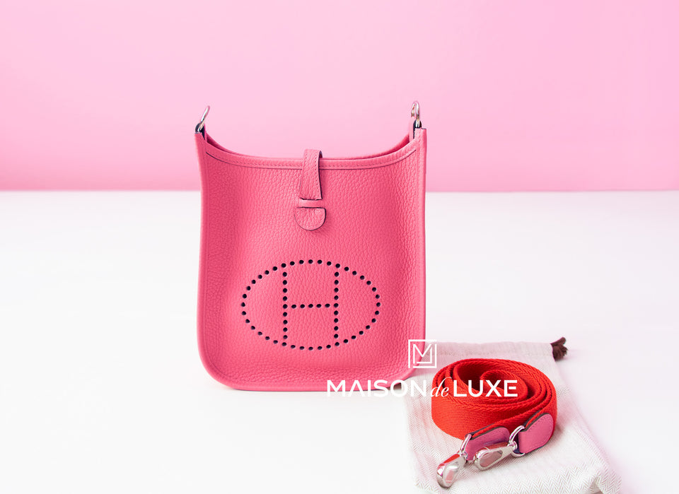 Hermes Rose Azalee Mini TPM Evelyne Messenger Bag