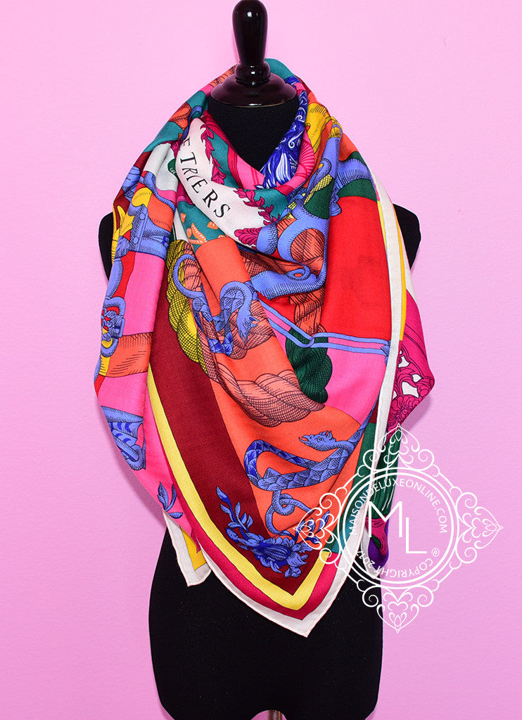 "Hermes ""Cavalleria d'Etriers"" Pink Green Cashmere 140 GM Shawl Scarf"