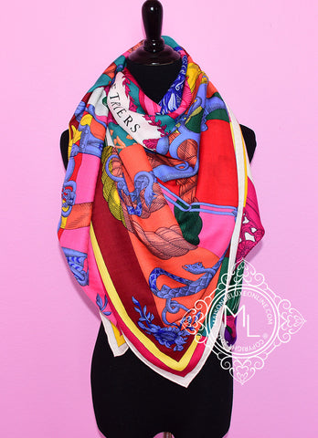 Hermes Cashmere 140 GM Cavalleria d'Etriers Pink Green Shawl Scarf - New