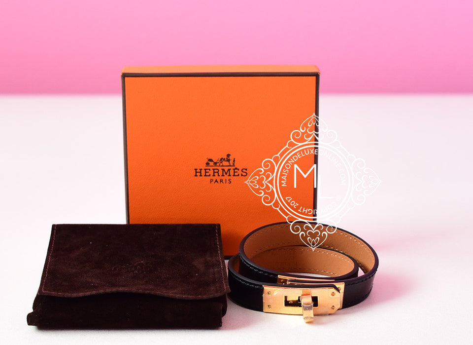 Hermes Noir Black GHW Kelly Double Tour Bracelet Cuff S