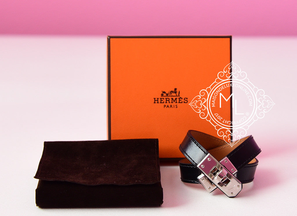 Hermes Noir Black PHW Kelly Double Tour Bracelet Cuff S