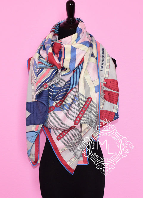 Hermes Cashmere 140 GM Sangles en Zigzag Pink Shawl Scarf - New
