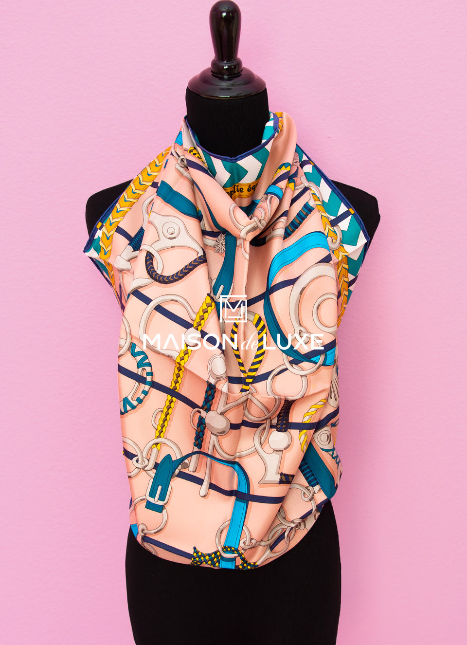 "Hermes ""Panoplie Equestre"" Poudre Twill Silk 90 cm Scarf"