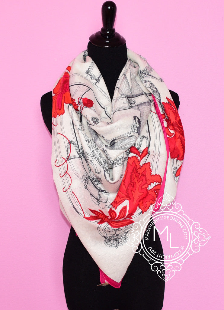 Hermes Cashmere 140 GM Cavalcadour Fleuri Pink Red Shawl Scarf
