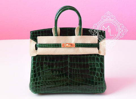 Hermes Green Vert Fonce Crocodile Gold Birkin 25 Handbag - New