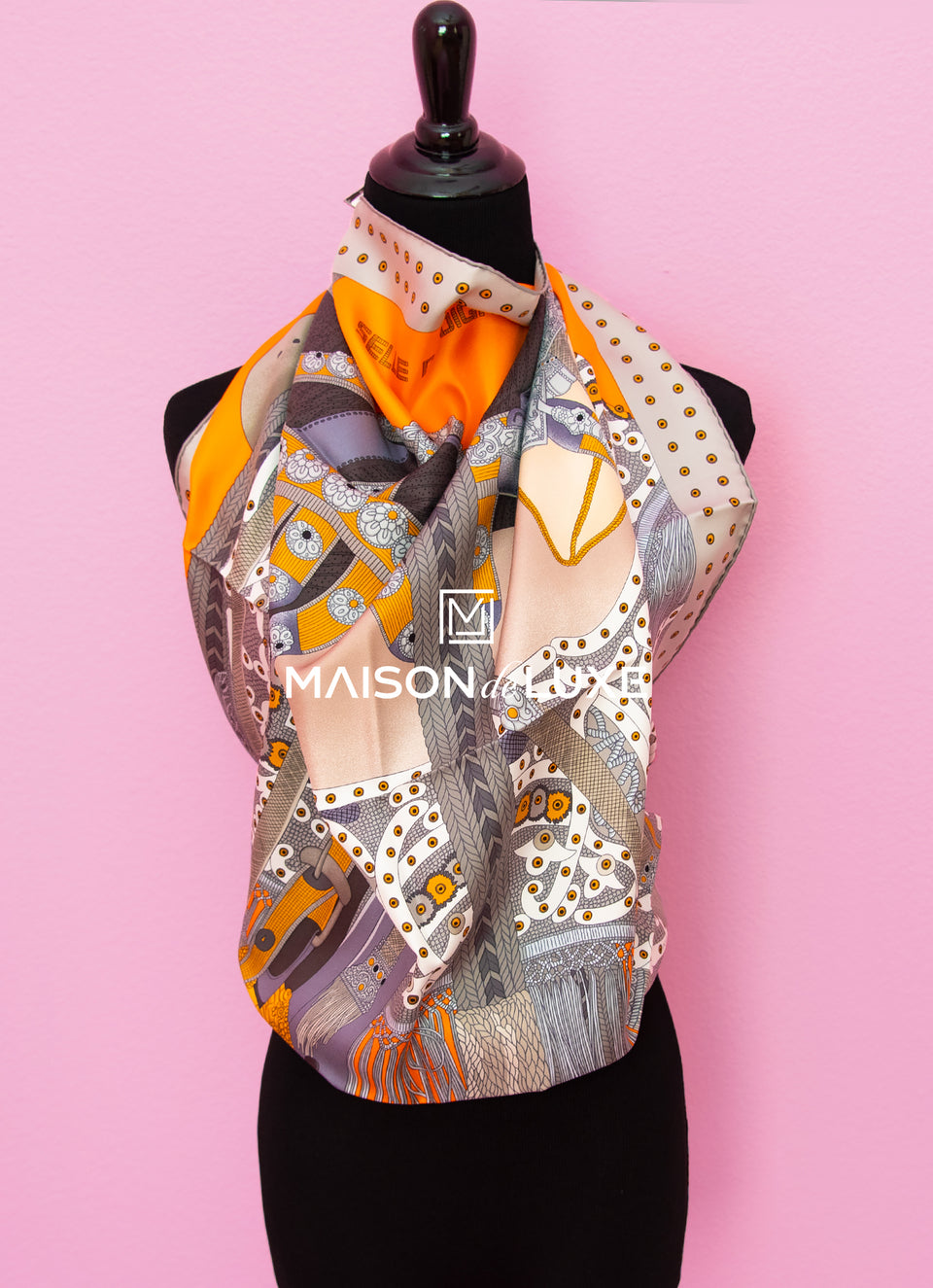 "Hermes ""Selle de Dignitaire"" Orange Twill Silk 90 cm Scarf"
