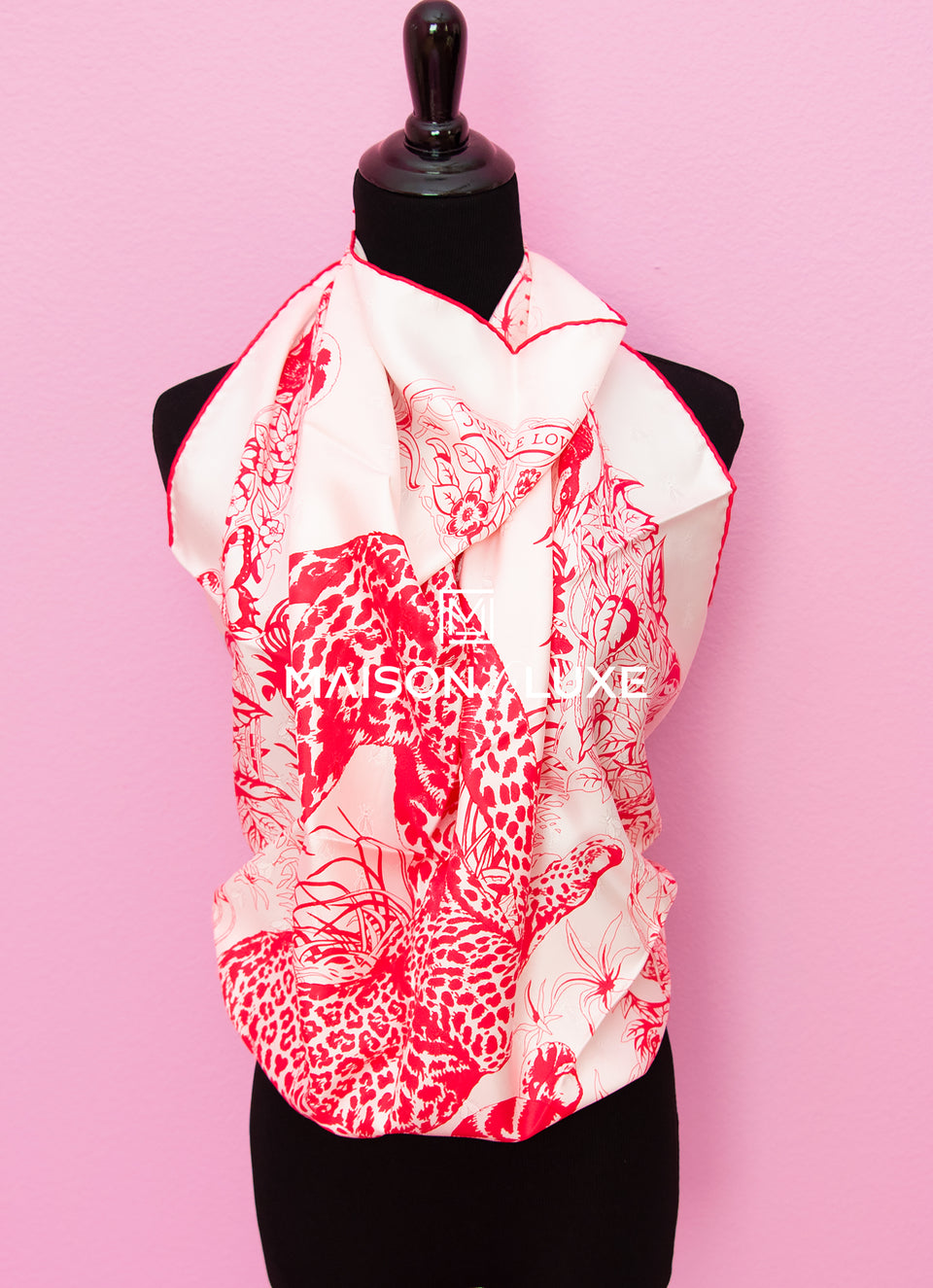 "Hermes ""Tatouage Jungle Love"" Pink Twill Silk 90 cm Scarf"