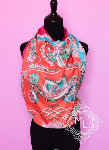 Hermes Corail Fuchsia Twill Silk 90 cm Paperoles Scarf - New