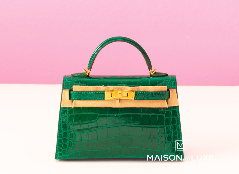 Hermes Vert Emeraude Crocodile Mini Kelly II 20 cm Pochette Clutch
