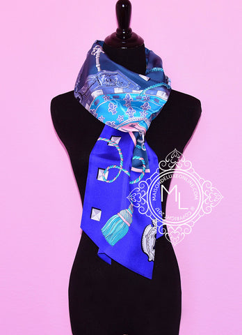 Hermes Blue Pink Les Clés Silk Maxi Twilly Scarf Wrap - New - Sale Item