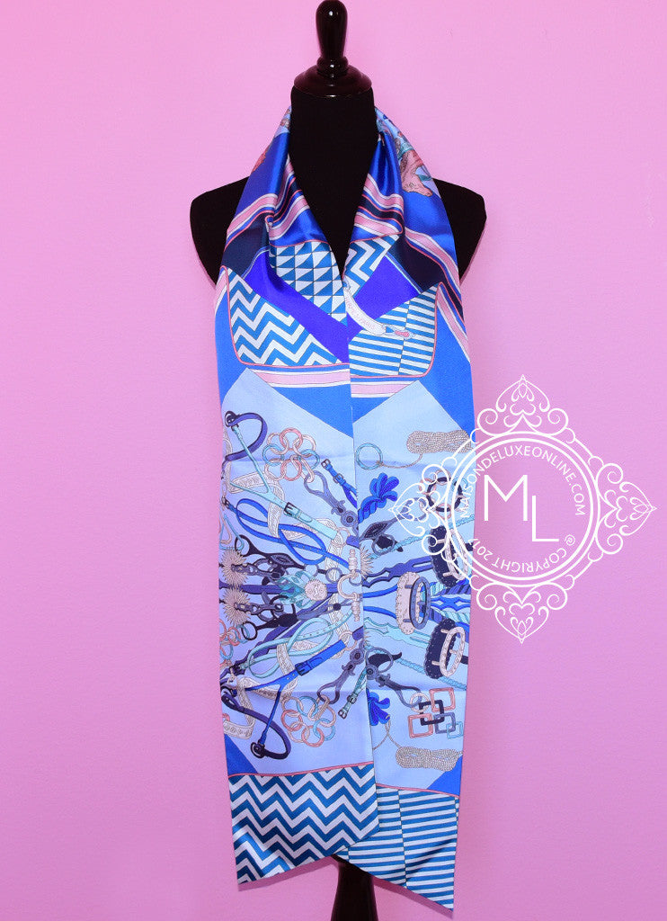 Hermes Blue Pink Bouquets Sellier Silk Maxi Twilly Scarf Wrap