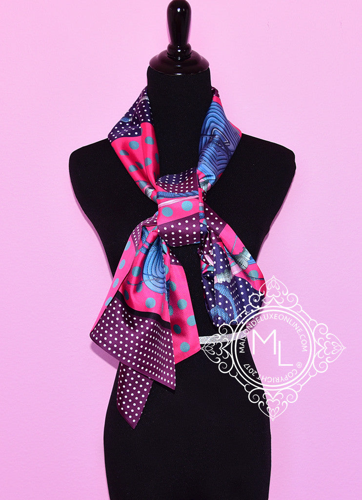 Hermes Purple Pink Clic-Clac à a Pois Silk Maxi Twilly Scarf Wrap