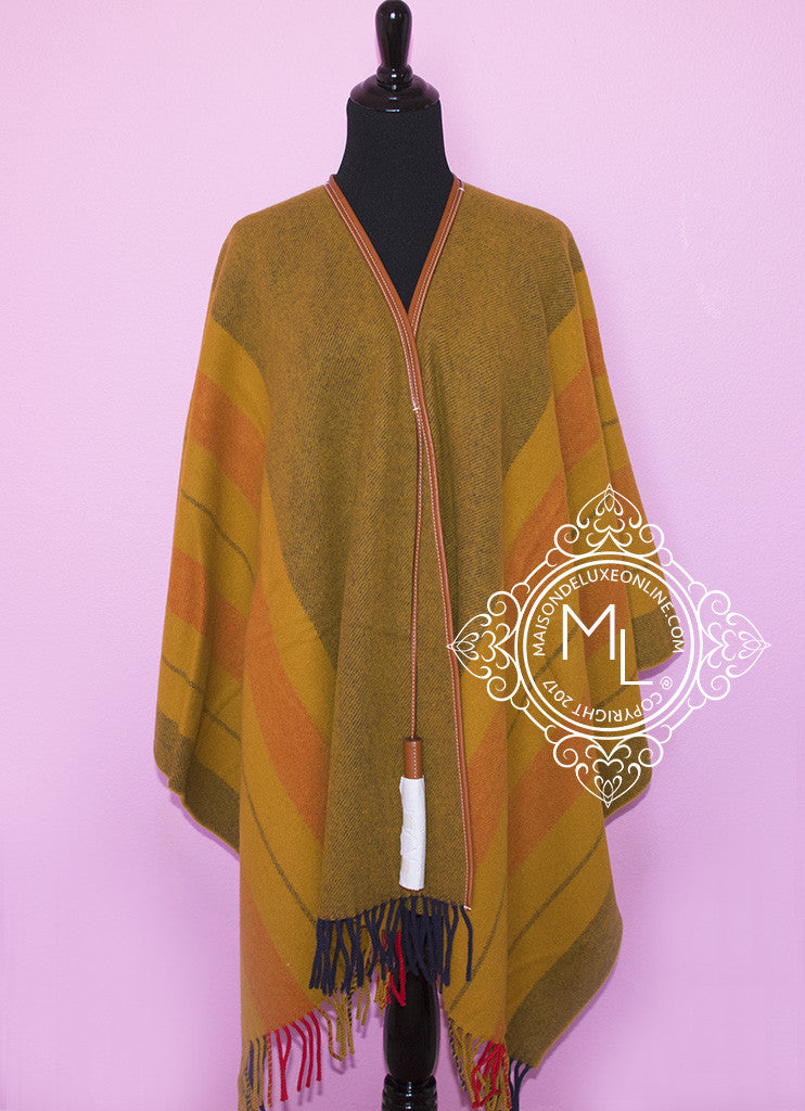 Hermes Cashmere Wool Straw Yellow Rocabar Poncho Cape
