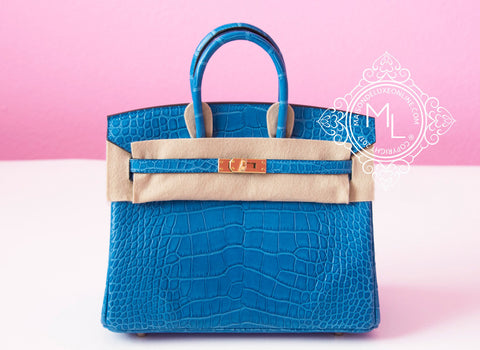 Hermes Mykonos Blue Crocodile Gold Birkin 25 Handbag - New