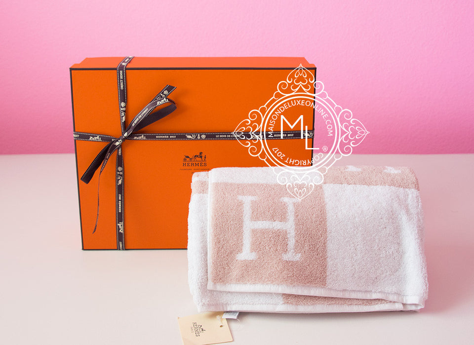 Hermes Classic Hazelnut H Avalon Large Bath Towel