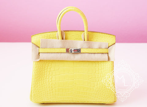 Hermes Lime Yellow Matte Crocodile Birkin 25 Handbag - New