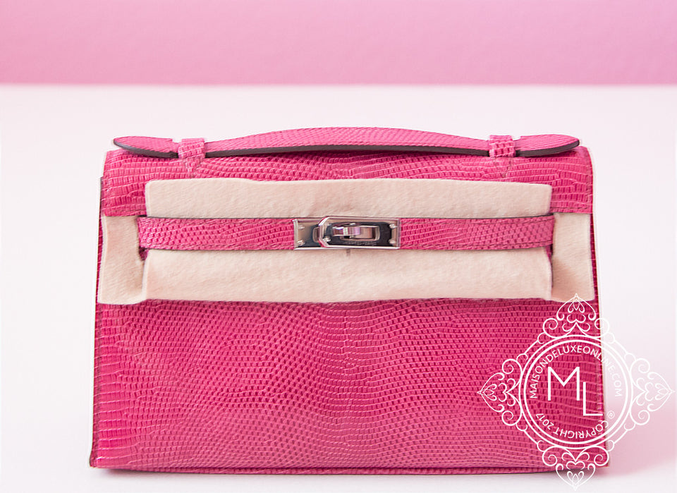 Hermes Fuchsia Lizard Mini Kelly Pochette Clutch