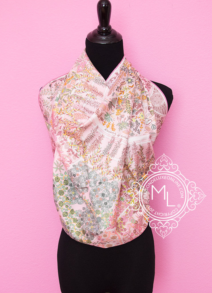 Hermes Rose Pink Twill Silk 90 cm Fleurs de Giverny Scarf