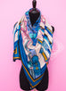 "Hermes ""Duo d'Etriers"" Blue Pink Cashmere 140 GM Shawl Scarf"