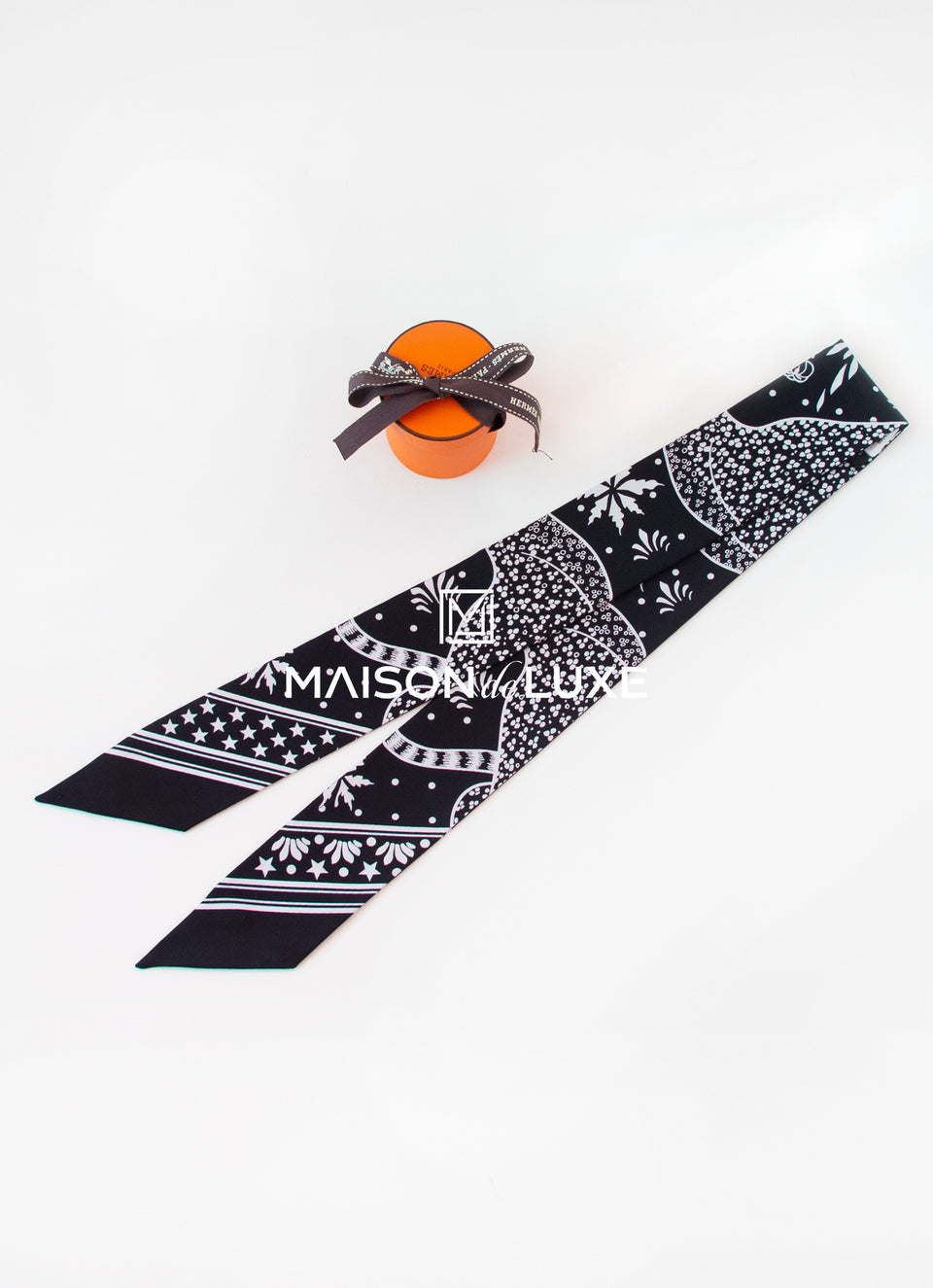 Hermes Black Les Leopards Bandana Twilly