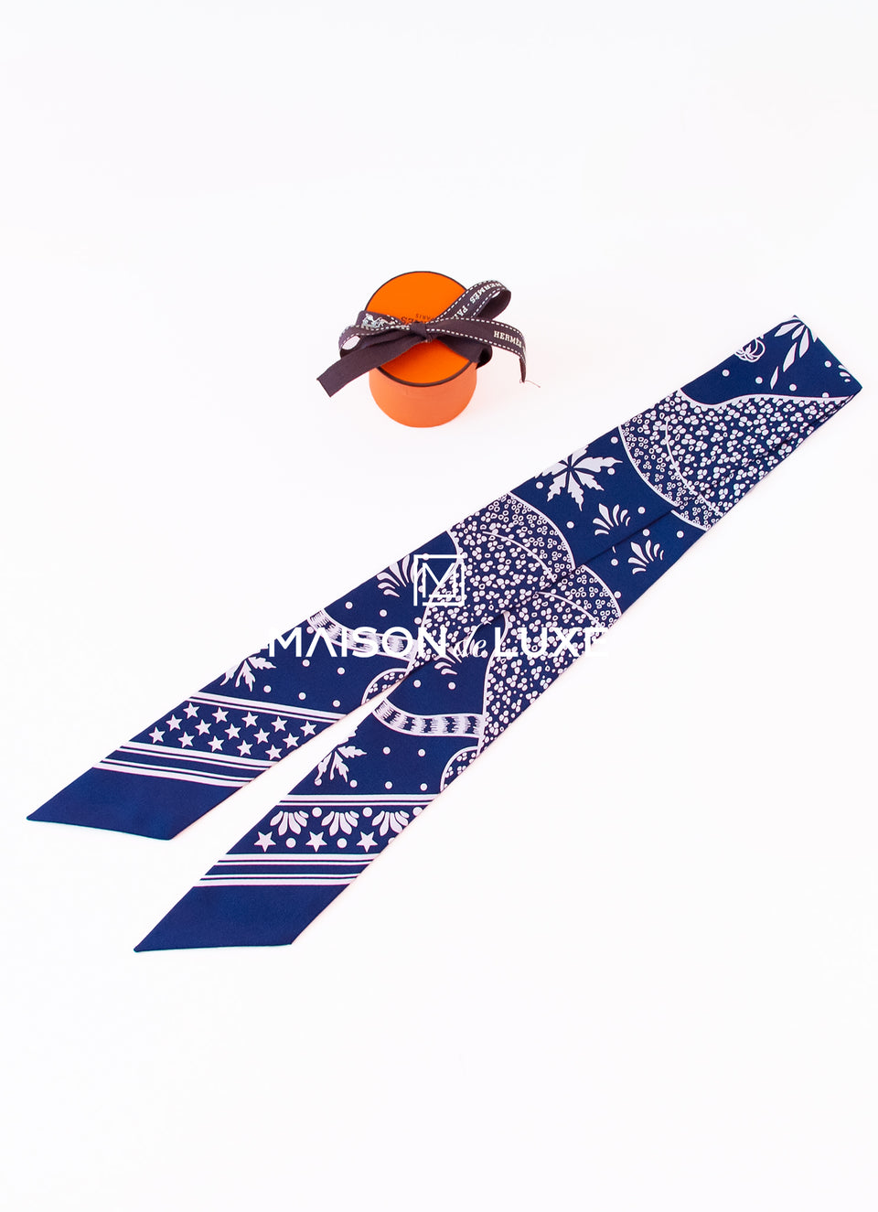 Hermes Navy Les Leopards Bandana Twilly