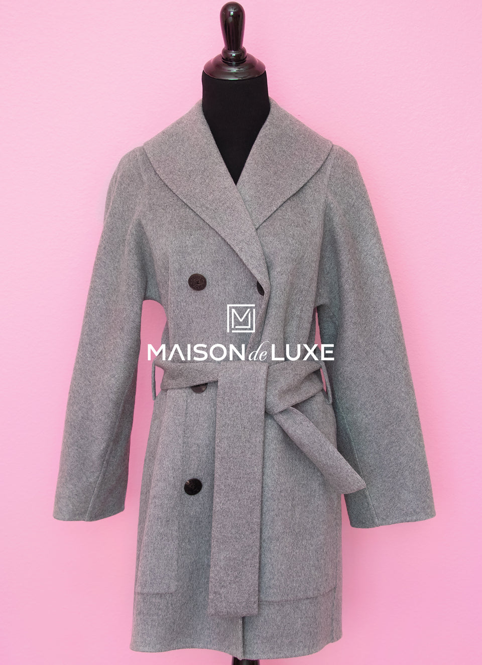 Hermes Gray Double Sided Cashmere Pea Coat Eu 34