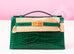 Hermes Green Vert Emeraude Emerald Crocodile Mini Kelly Pochette Clutch