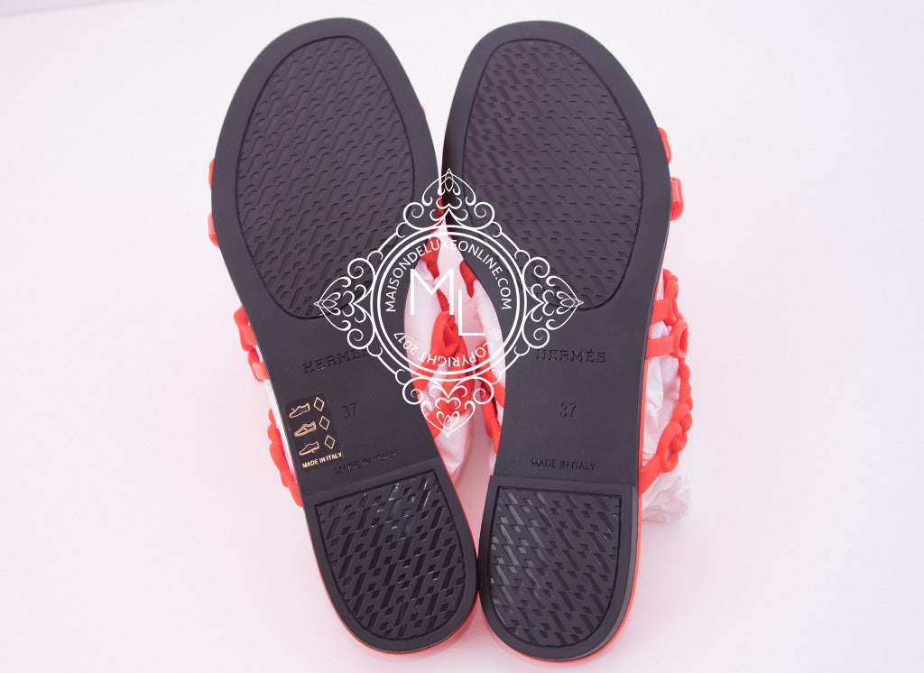 4d4d550763ea Hermes Womens Summer Nude Jelly Red Sandal Slipper 37 Shoes Flats ...