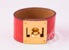 Hermes Red Matte Alligator Crocodile Kelly Dog CDC Bracelet S - New