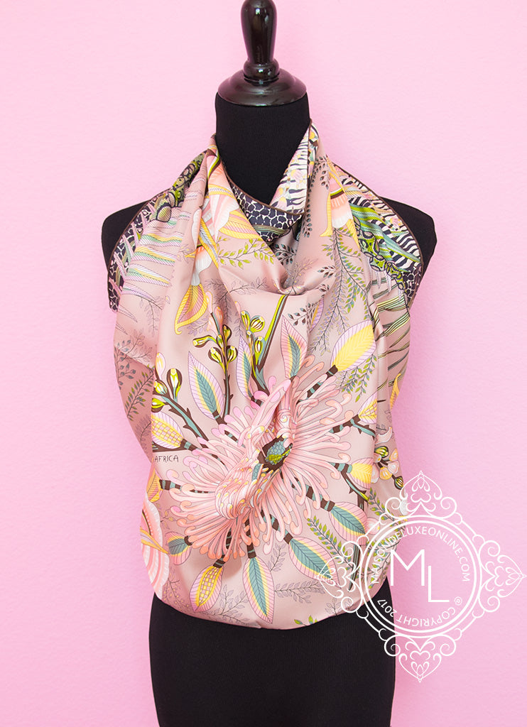 Hermes Brown Pink Twill Silk 90 cm Flowers of South Africa Scarf