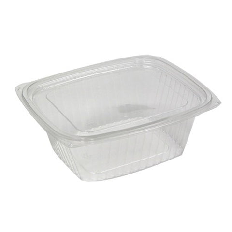 Plastic Rectangle Food Container with Lid-Clear-16 oz-Packs of 25