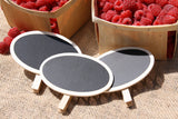 Wooden Clip-on Chalkboard Display Signing-Oval-pack of 10