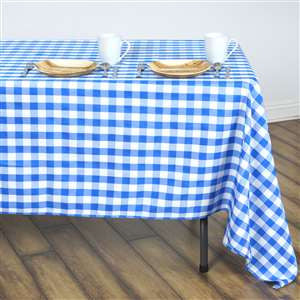 "Blue & White Checkered Polyester Tablecloth--60""X126"""