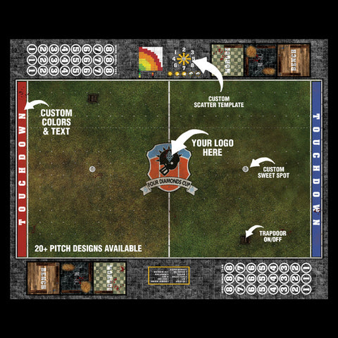 Custom Fantasy Football Play Mat / Dual Pitch 11s and 7s from Mats by Mars