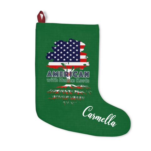 American with Italian Roots Christmas Stocking with Optional Personalization