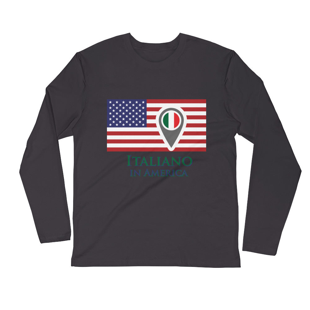 Italiano in America Men's Long Sleeve Fitted Crew