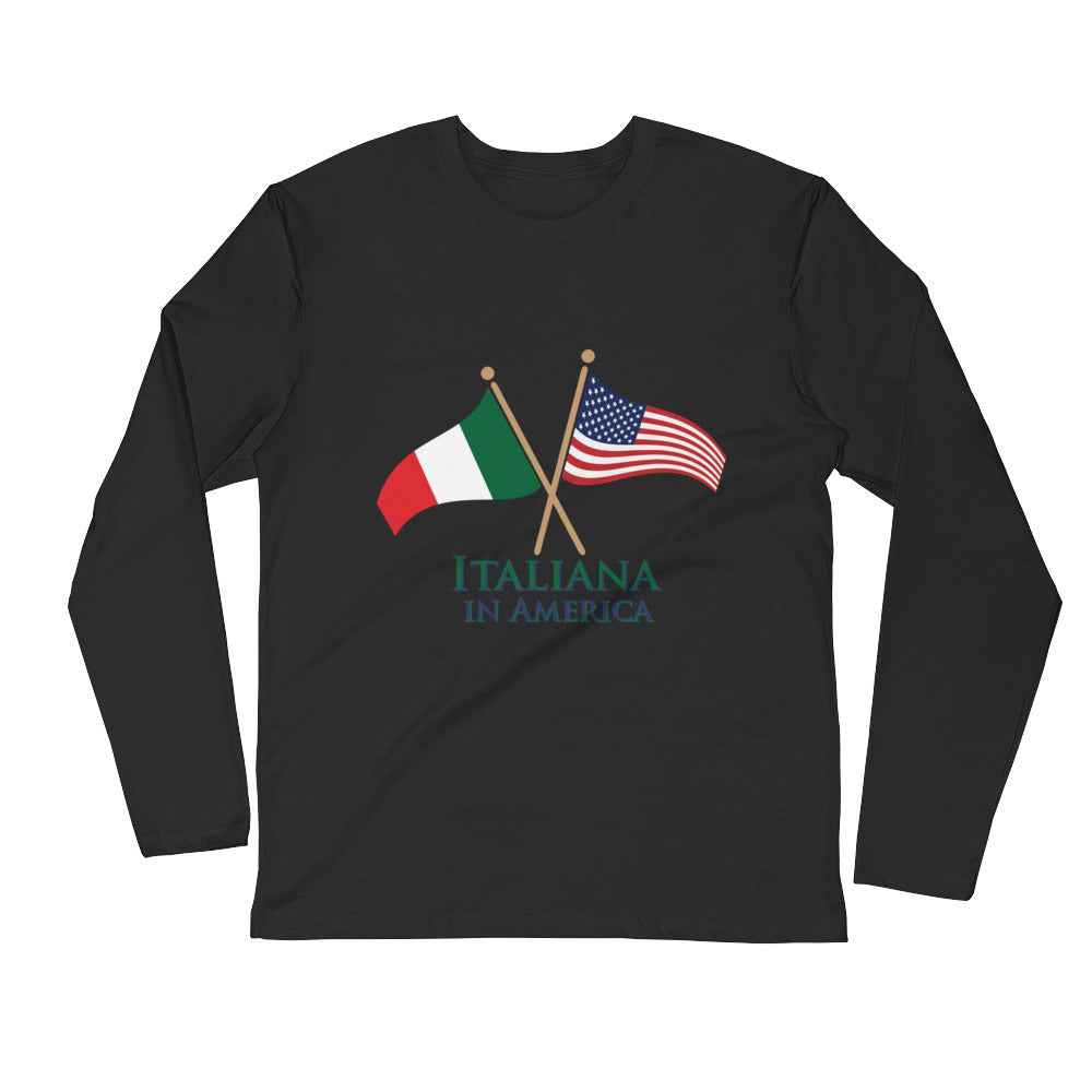 Italiana in America Women's Long Sleeve Fitted Crew