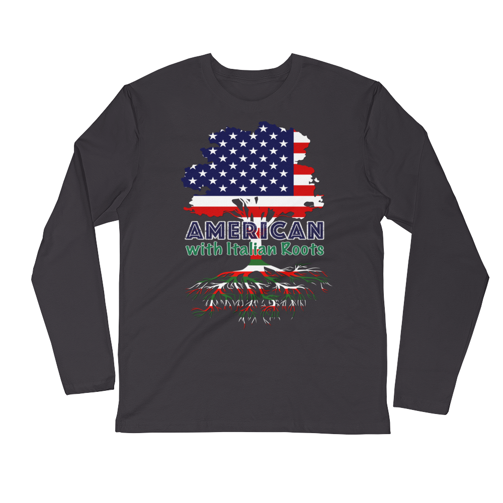 American with Italian Roots Style 1 Unisex Long Sleeve Fitted Crew