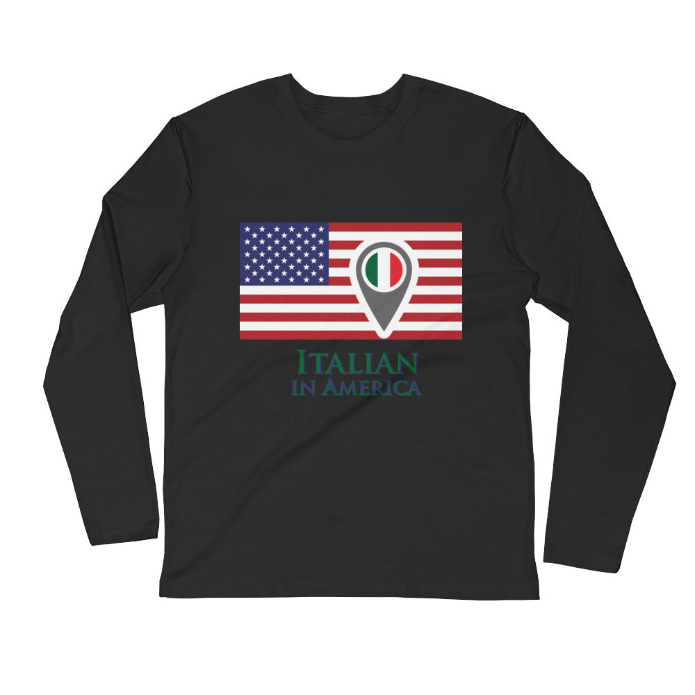 Italian in America Check In Unisex Long Sleeve Fitted Crew