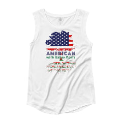 Image of American with Italian Roots Style 1 Ladies' Cap Sleeve T-Shirt