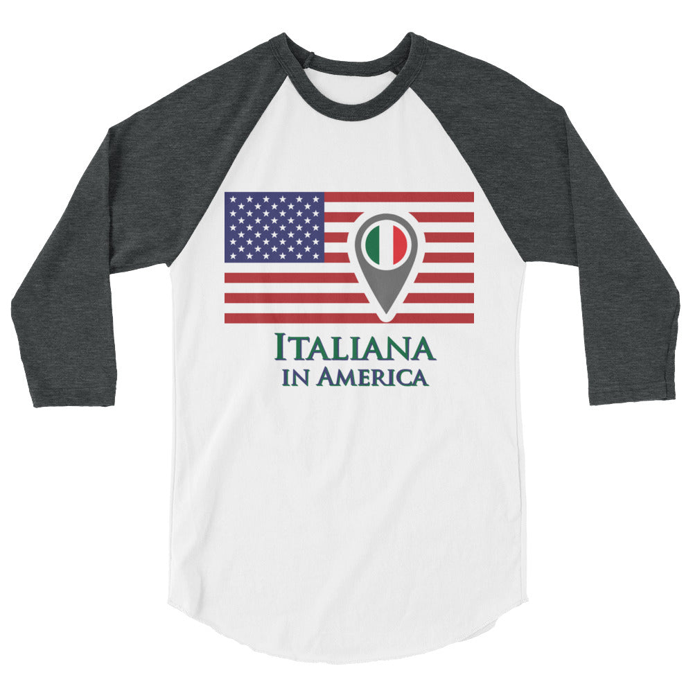 Italiana in America Check In Women's 3/4 sleeve raglan shirt