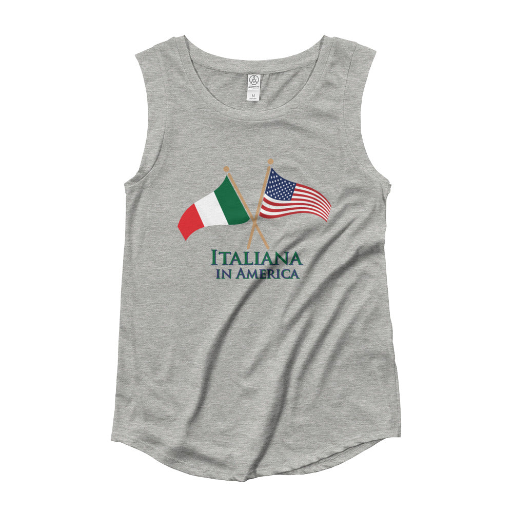 Italiana in America Ladies' Cap Sleeve T-Shirt