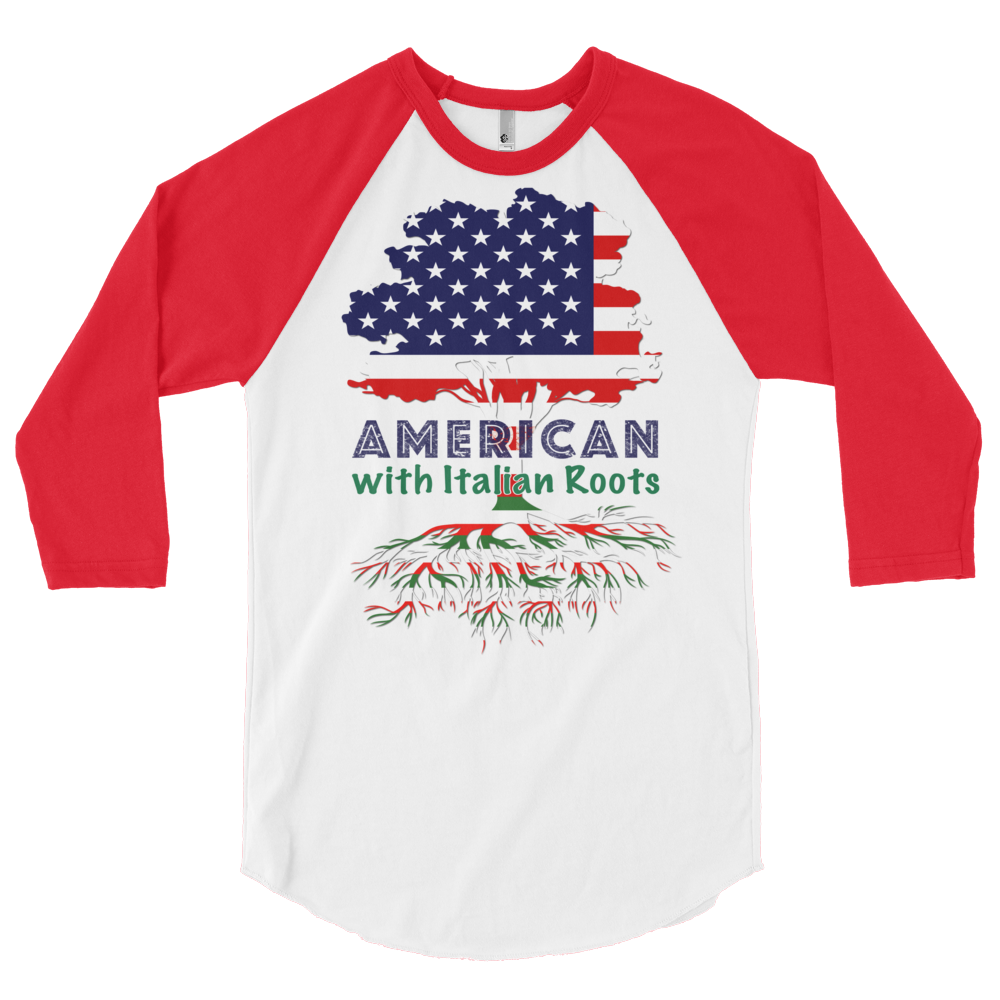 American with Italian Roots Style 1 Unisex 3/4 sleeve raglan shirt